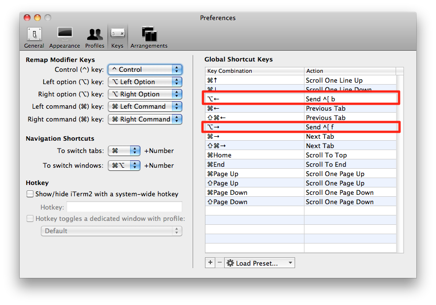 Using Option + Left or Right Arrow Keys in iTerm2
